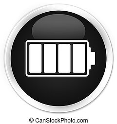 Battery icon black glossy round button
