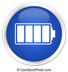 Battery icon blue glossy round button