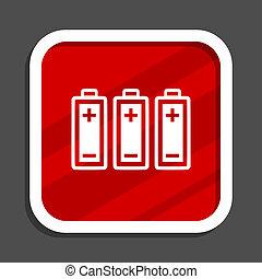 Battery icon. Flat design square internet banner.