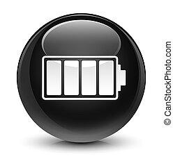 Battery icon glassy black round button