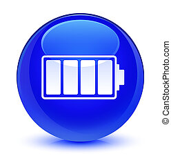Battery icon glassy blue round button