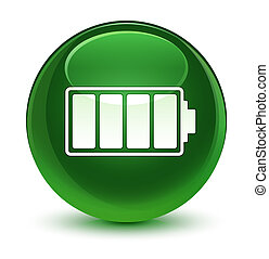 Battery icon glassy soft green round button