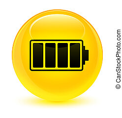 Battery icon glassy yellow round button