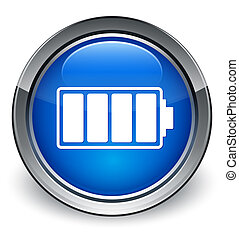 Battery icon glossy blue button
