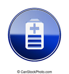 Battery icon glossy blue, isolated on white background