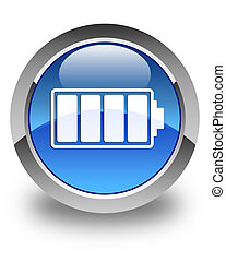Battery icon glossy blue round button