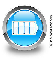 Battery icon glossy cyan blue round button