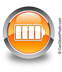 Battery icon glossy orange round button