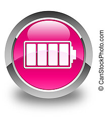 Battery icon glossy pink round button