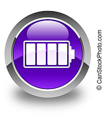 Battery icon glossy purple round button