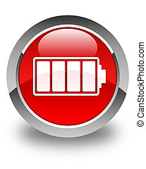 Battery icon glossy red round button