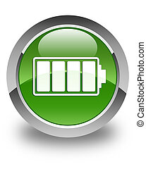 Battery icon glossy soft green round button