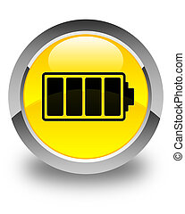 Battery icon glossy yellow round button