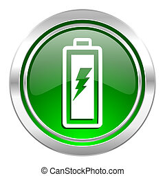 battery icon, green button, power sign