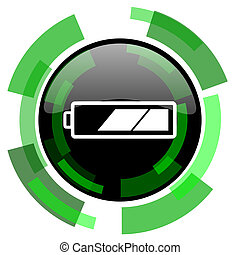 battery icon, green modern design isolated button, web and mobile app design illustration