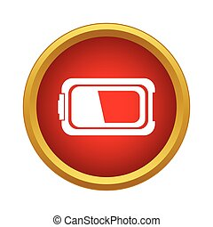 Battery icon in simple style