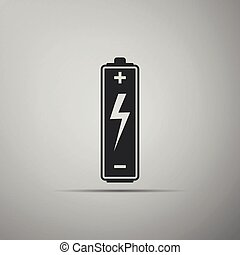 Battery icon isolated on grey background. Flat design. Vector Illustration