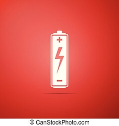 Battery icon isolated on red background. Flat design. Vector Illustration