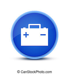 Battery icon isolated on special blue round button abstract