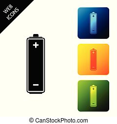 Battery icon isolated. Set icons colorful square buttons. Vector Illustration
