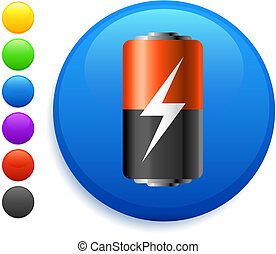 battery icon on round internet button original vector...