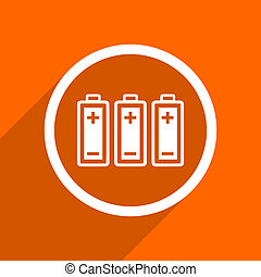 battery icon. Orange flat button. Web and mobile app design illustration