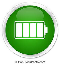 Battery icon premium green round button