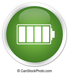 Battery icon premium soft green round button
