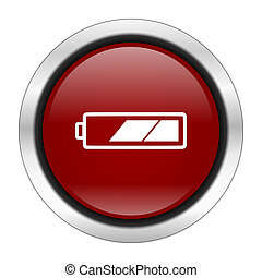 battery icon, red round button isolated on white background, web design illustration