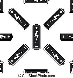 Battery icon seamless pattern on white background. Flat design. Vector Illustration