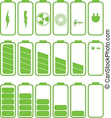 Battery icon set .Set of battery charge level indicators eps 10
