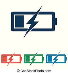 Battery icon set - simple flat design isolated on white background, vector