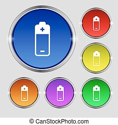 battery icon sign. Round symbol on bright colourful buttons. Vector