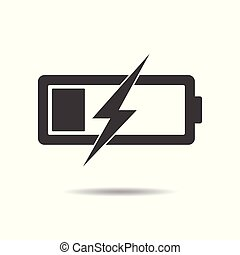 Battery icon - simple flat design isolated on white background, vector