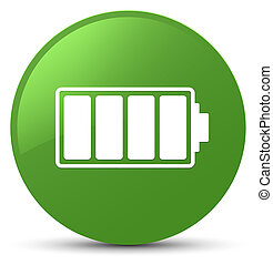 Battery icon soft green round button