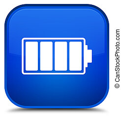 Battery icon special blue square button