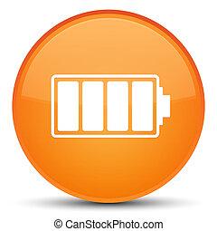 Battery icon special orange round button