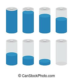 Battery icon vector set isolated on white background. Symbols of battery charge level, full and low.