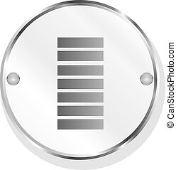 Battery icon web button isolated on white
