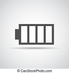 Battery icon with shadow on a gray background. Vector illustration
