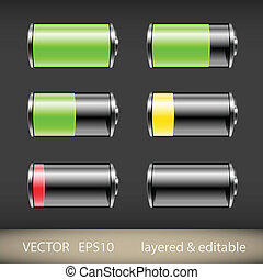 Battery Icons - Glossy battery icons set. Vector...