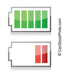 battery icons illustration isolated over a white background