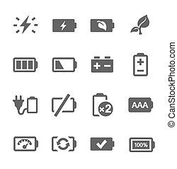 Battery icons - Simple set of battery related vector icons ...