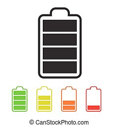 Battery Icons. Simple Vector Battery Life Symbols Set.