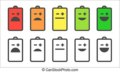 Battery indicator smiley icons