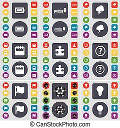 Battery, Keyboard, Lightning, Calendar, Puzzle, Question mark, Flag, Ball, Light bulb icon symbol. A large set of flat, colored buttons for your design. Vector