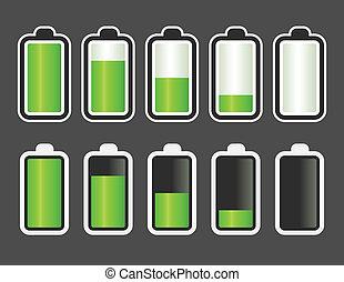 Set of battery level indicator icons.