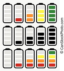 Battery level indicator symbol set from low to high. No energy, charge, recharge battery symbols in sequence. Power consumption, generation, conservation.      Battery level indicator symbol set from