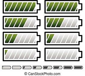 Battery Level Indicator Symbols / Battery Symbols with Slanted bars      Battery Level Indicator Symbols / Battery Symbols with Slanted bars