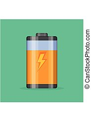 Battery level indicator vector icon in flat style. Glossy transparent Battery with lightning on green background.